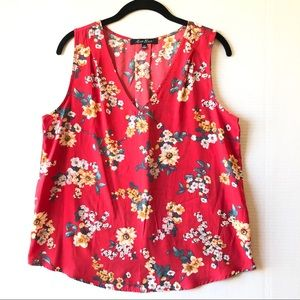 Alice Blue StitchFix Red Floral Sleeveless Blouse